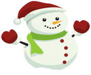 Snowman with Christmas Hat PNG Clipar