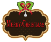 Merry Christmas Label PNG Clipar