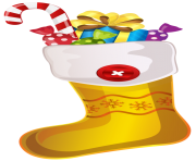 Christmas Yellow Stocking with Candy Cane PNG Clipar