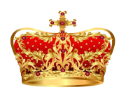 royal gold crown with red precious stones png clipart