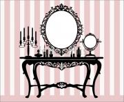 interior scene with antique furniture old mirror candelabra and 7w61Om clipart