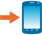 emoji android mobile phone with rightwards arrow at left
