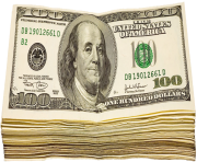 Transparent Wad of Dollars PNG Picture
