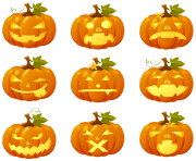 Halloween Pumpkin Smiles Collection PNG Clipart