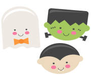 Frankenstein large cute halloween set clipart