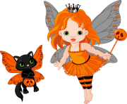 Transparent halloween fairy and cat 0 cliparts