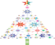 abstract snowflake christmas tree png