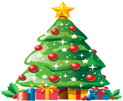 Christmas Tree with Gifts PNG Clipart