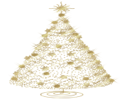Modern Transparent Christmas Gold Tree PNG Clipart