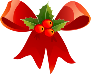 christmas ribbon red holly decoration png