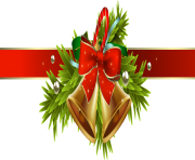 Christmas Ribbon with Christmas Decor PNG Clipart