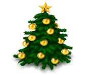 christmas fir tree gold ball png image