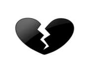 emoji black heart broken Png