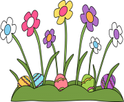 easter flowers eggs png
