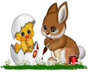 Easter Bunny  and Chicken Clipart Picture