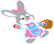 Easter Bunny with Egg Basket PNG Picture