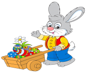 Easter Bunny with Egg Cart PNG Picture