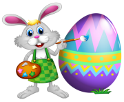 Easter Bunny and Colored Egg PNG Picture