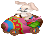 Easter Decorative Bunny with Cart PNG Picture