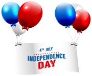 Independence Day with Balloons Transparent PNG Clip Art Image