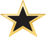 Gold and Black Star PNG Transparent Clip Art Image
