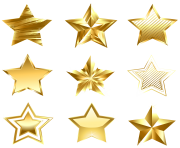 Transparent Golden Stars Set PNG Clipart