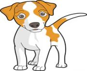 dog clip art white and orange