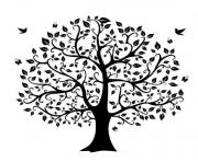 tree clipart black and white birds