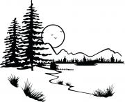 sunset tree clipart black and white