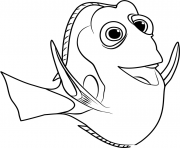 finding dory fish black and white clipart