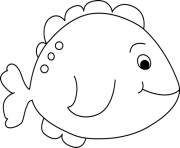 kids fish black and white clipart