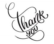 thank you words on white background hand drawn clipart