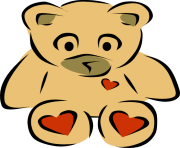 february teddy bear heart clipart