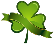 St Patricks Day Shamrock with Banner PNG Clipart