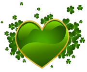 St Patricks Day Heart with Shamrock PNG Clipart