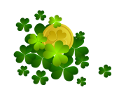 St Patricks Shamrocks with Coin Decor PNG Clipart