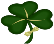 St Patrick Shamrock with Yellow Bow PNG Picture