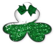 Shamrock with Green Bow PNG Picture
