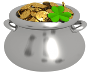 Transparent Pot of Gold with Shamrock PNG Clipart