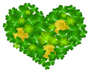St Patricks Shamrock Heart with Coins PNG Clipart