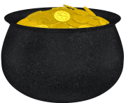 Pot of Gold with Shamrock and Gold Coins PNG Picture