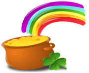 St Patrick Pot Of Gold with Rainbow PNG Picture