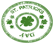 St Patricks Day Stamp with Shamrock PNG Clipart