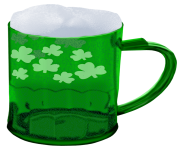 St Patrick Green Beer with Shamrocks PNG Picture