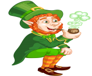 St Patrick Day Transparent Leprechaun with Pipe PNG Picture