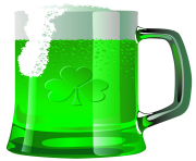 Transparent Saint Patrick Green Beer PNG Picture
