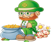 Leprechaun with Pot of Gold PNG Clipart