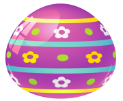 Purple Easter Egg with Flowers PNG Picture