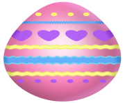 Easter Pink Egg with Hearts PNG