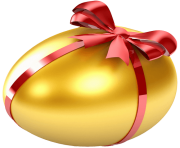 Easter Large Gold Egg with Red Ribbon